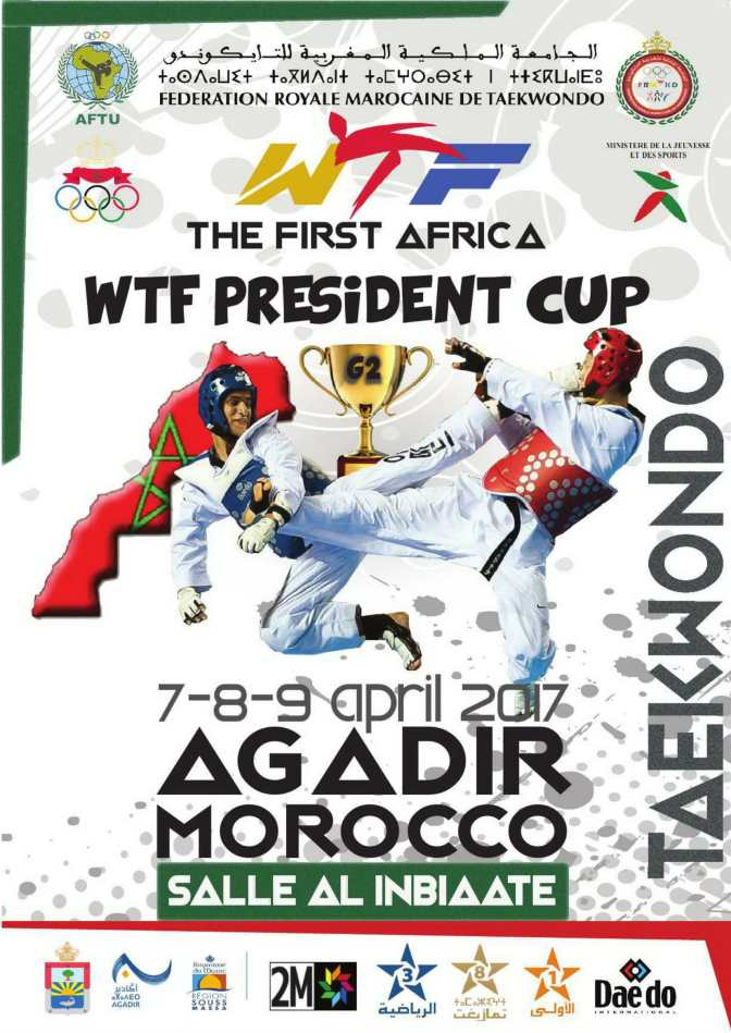 the first Africa Poomsae and Kyorugi WTF President's Cup G2 == 6/7/8/9 of April 2017==