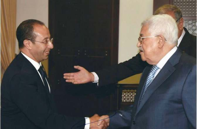 استقبال السيد إدريس الهلالي من قبل رئيس دولة فلسطين السيد محمود عباس.